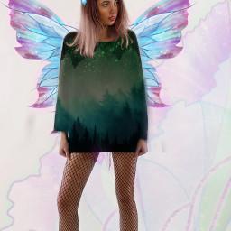 freetoedit fairy wings pink blue