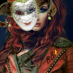 freetoedit freetoeditnot woman mask redhair ircmardigras