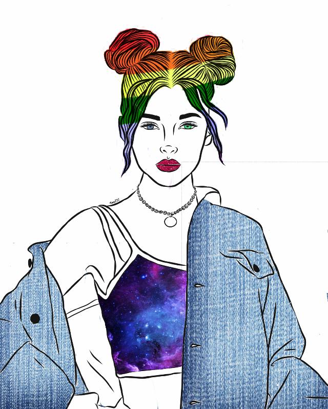 #freetoedit #galaxy #rainbow #jeans #eyes