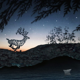 freetoedit myedit deer boat night