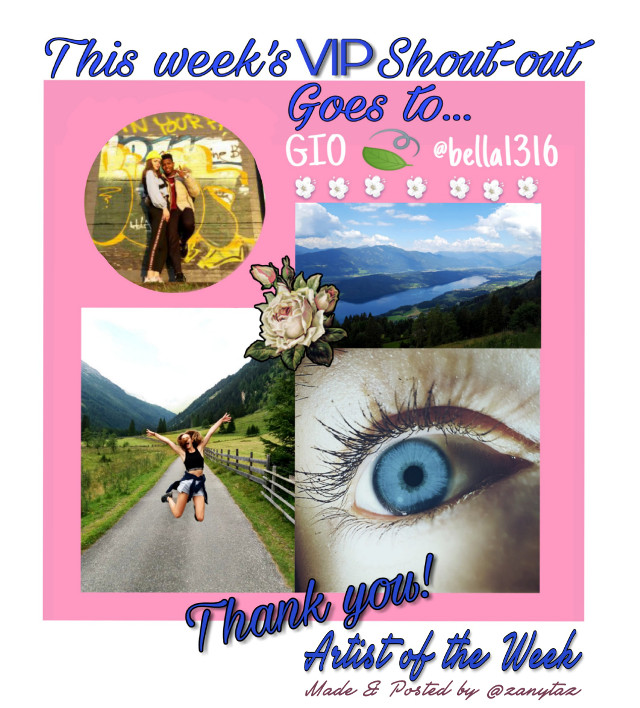 #vipshoutout A VIP project recognizing the photography gallery of @bella1316 this week's vip's Artist of the Week. Congratulations to her! You will enjoy visiting her gallery!   Picture made and posted by @zanytaz  @bella1316  picture URLs  1.   https://picsart.com/i/272749674003201  2.  https://picsart.com/i/275688210009201 #nofeature