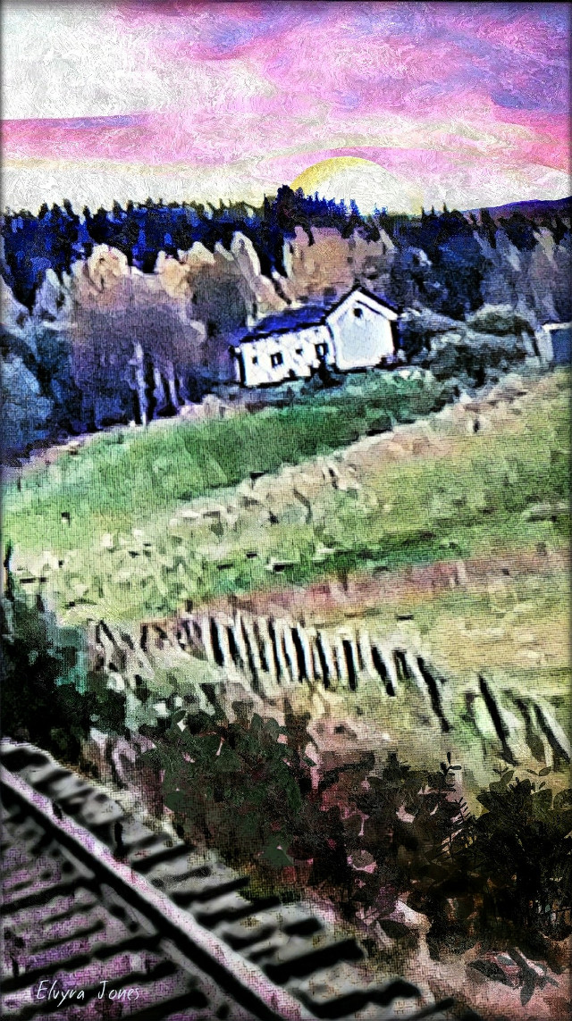 #House On A #Hill ~ #Sunset #TrainTracks #PicketFence #Landscape  #Instagram #Twitter #PicsArt  #MadeWithPixlr #Fotor #DeepArtEffects #Fotor #ElvyraJones #ClownSinnerSaint  #ClassicMissGenie54