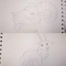 goat sketch illustration drawing tradionalart freetoedit