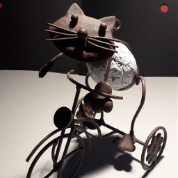 decoration metalic metalsculpture cat bicycle
