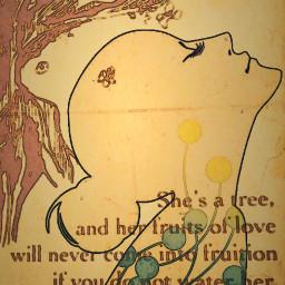 growth tree woman oldpapereffect freetoedit