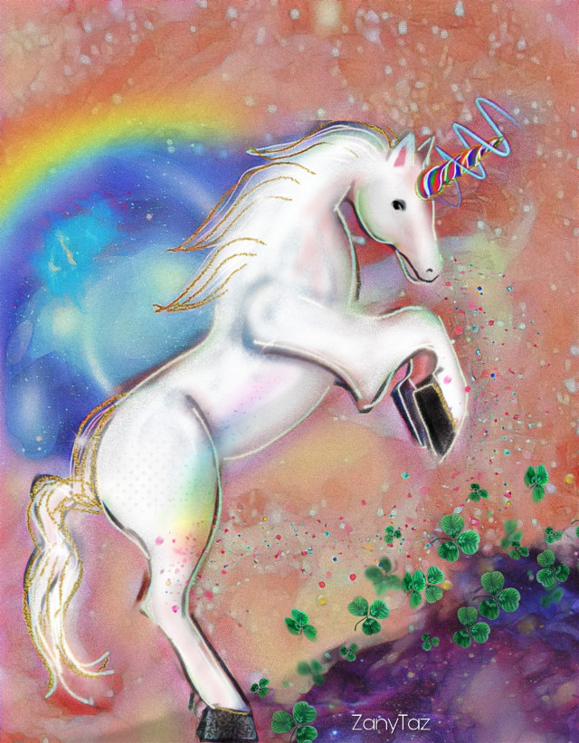 Do you dream if #unicorns??  (Image was inspired by Django Jones...) Happy Friday! #freetoedit (👉Also, I made a sticker of this unicorn, check it out)