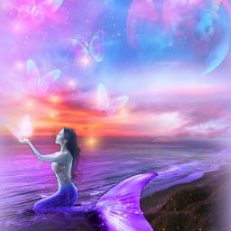 freetoedit fantasyart fairytalebackgrounds mermaid supermoon