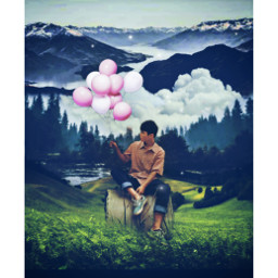 freetoedit oldphoto surreal balloons colorful