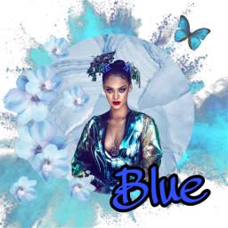 freetoedit blue flowers butterfly rihanna