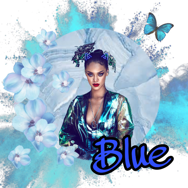 #freetoedit #blue #flowers #butterfly #rihanna #color #colorpowder #paint