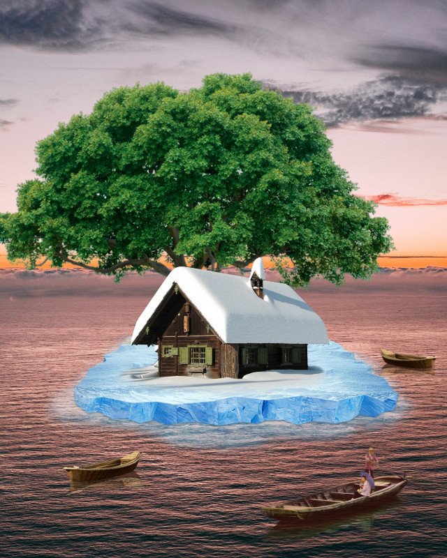 #freetoedit #boat #house #island #iceberg #tree