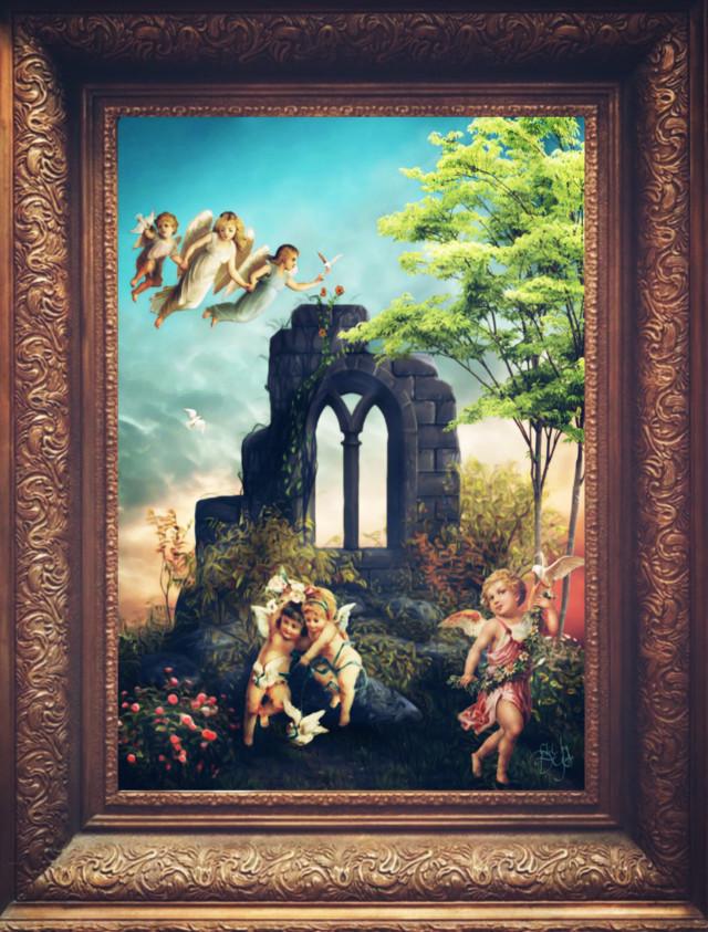 #freetoedit , #angels, #oilpaintingeffect #myedit,  #framed , #clipart, #angelsatplay, #gardenofangels