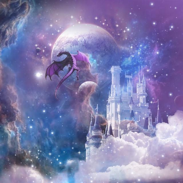 #freetoedit #pastel  #castle #dragon #magical #myedit #sparklebrush