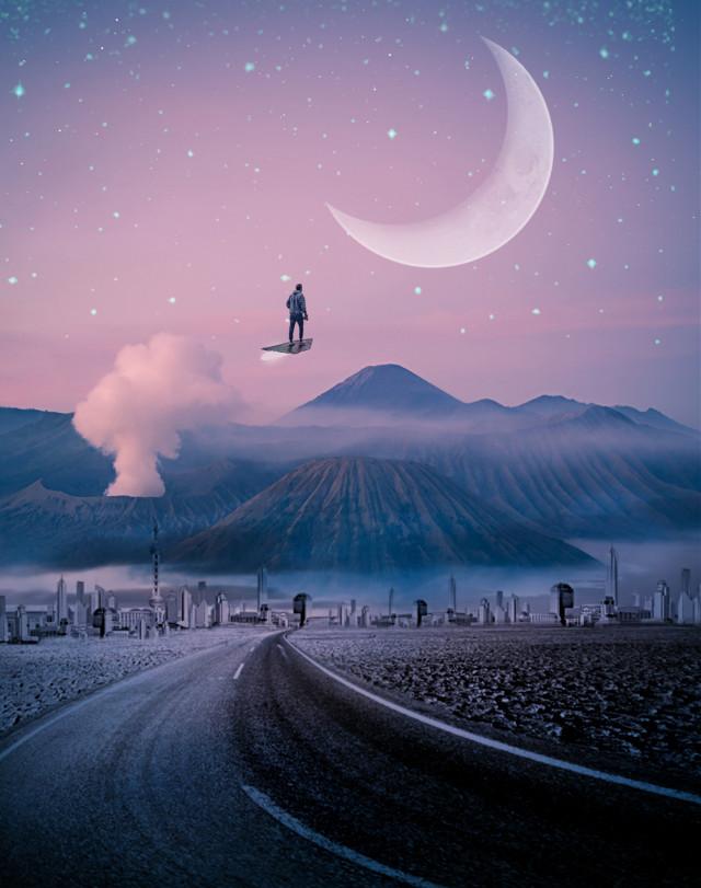 #freetoedit  #surreal  #moon  #city
