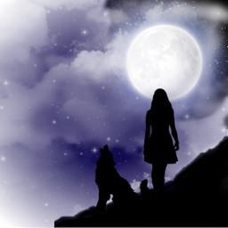 freetoedit girl wolf night