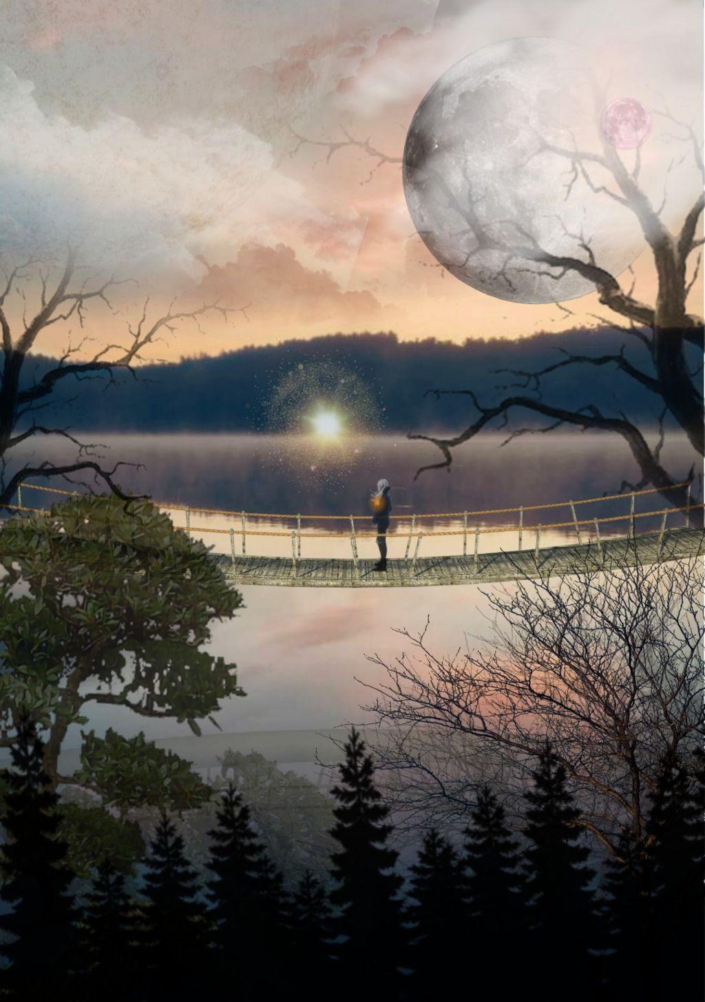 #freetoedit #girl #forest #magic #sun #moons #clouds #tree #water #bridge #sky