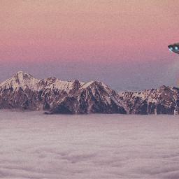 freetoedit mountains ufo moon clouds
