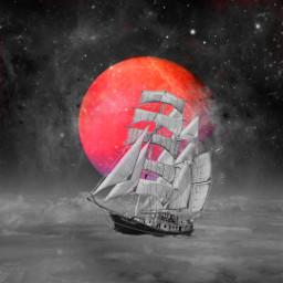 freetoedit redplanet ship clouds eccolorsplasheffect
