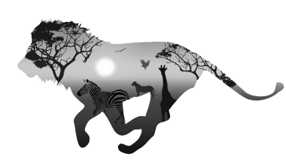 ftestickers lion silhouette doubleexposure freetoedit