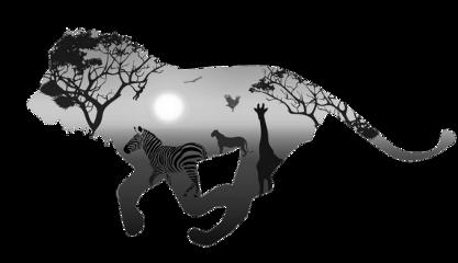 ftestickers lion silhouette doubleexposure freetoedit