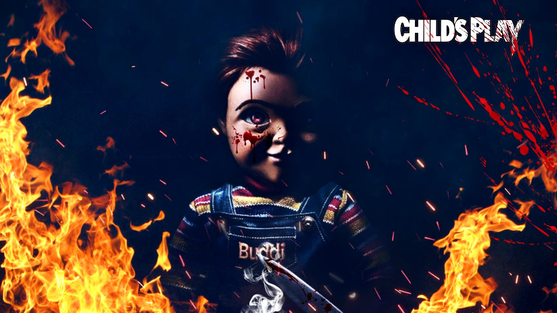 #freetoedit My concept and edit of the new child's play reveal. #childsplay #doll #creepy #cool #newmovie #picsart #madewithpicsart #fire #blood child's play doll photo originally found on google.