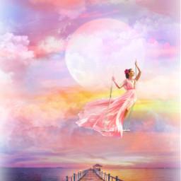 freetoedit fantasyart woman swing lakeside