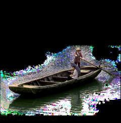ftestickers men boat wooden reflectioninwater freetoedit