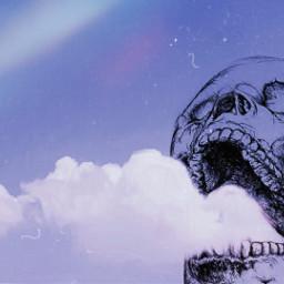 skull sky psychedelic freetoedit irccloudsandsky