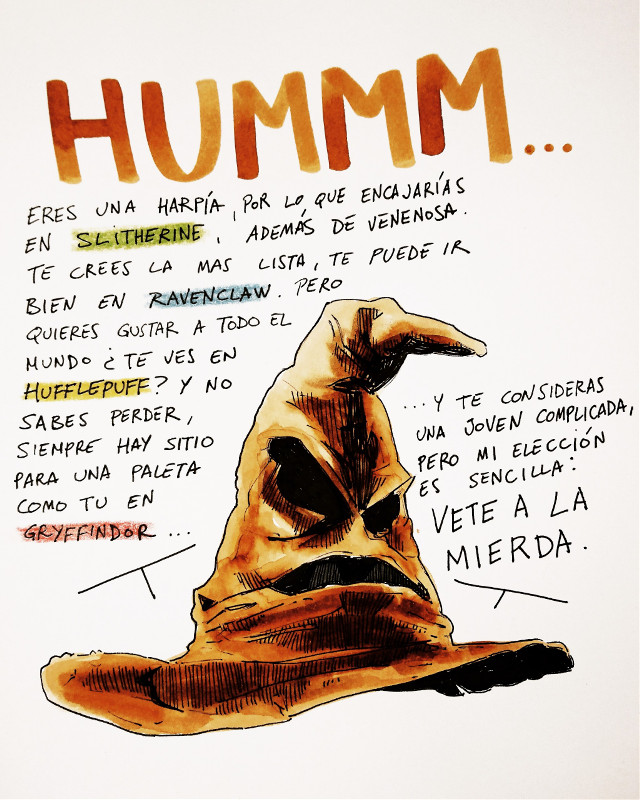 Sombrero seleccionador... #drawing #watercolour #acuarela #theprometeus #ink #illustration #harrypotter #hogwarts