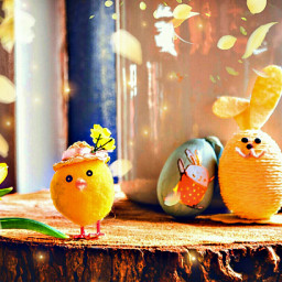 easter chick flowers background wallpaper freetoedit