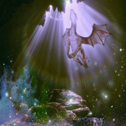 freetoedit fantasy dragon cave picsarteffects