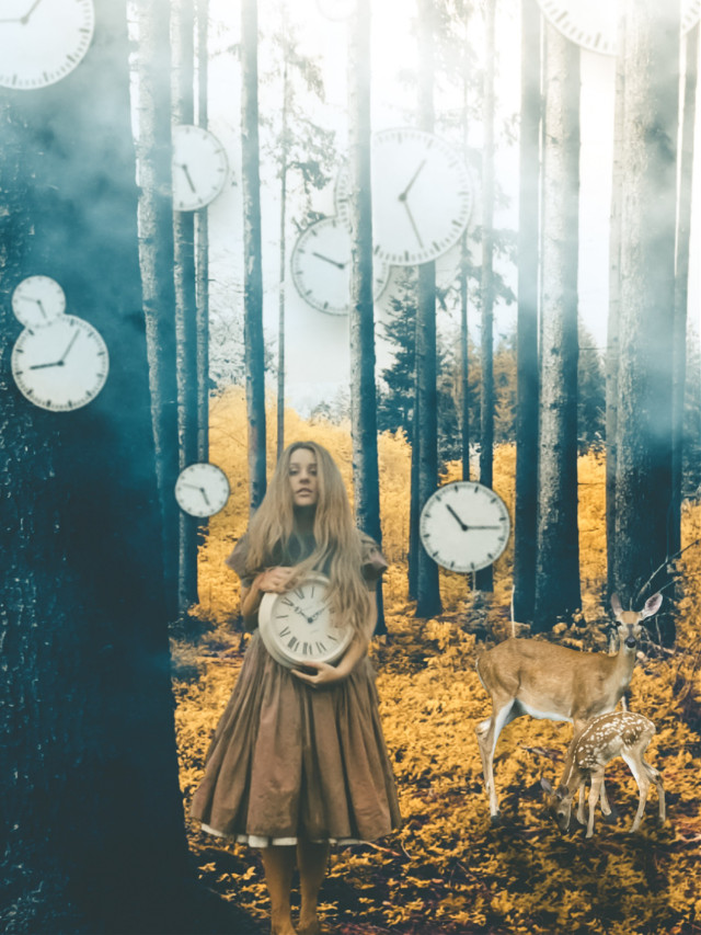 If you're lost you can look and you will find me  Time after time If you fall I will catch you  I'll be waiting Time after time  https://youtu.be/0WLhE33hwyY   #freetoedit #girl #clock #watch #time #photomanipulation #photostory #manipulation #natural #dream #fantasy #surreal  Thanks for the beautiful bg img & stickers