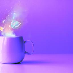 freetoedit cup galactic magical purple glittersmoke