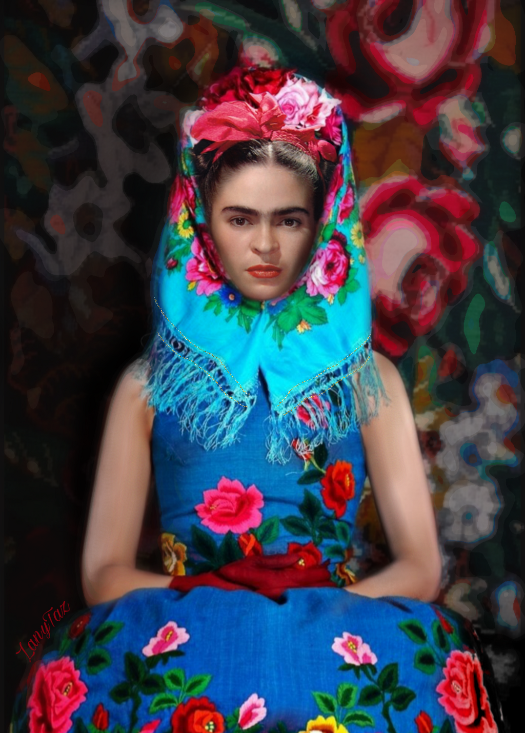 """""""I'd rather wear #flowers in my #hair than diamonds around my neck"""". An #edit of #fridakahlo using Jessica's posted image. Check her gallery. It's filled with awesome fte images! Beautiful portraits.  👉 @hadayluna 🍃💙🍃👑🌵🏜️ #frida #flowerpower #patterns #colorful #artist #unibrow_queen 💙🙏"""