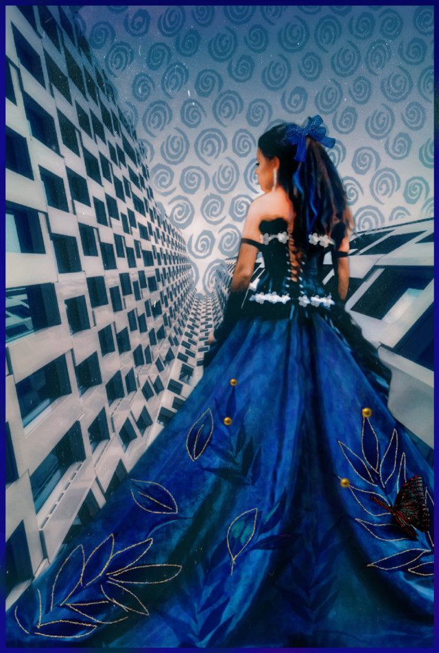 Focus on the #patterns 💙 verses #perspective #pointofview 😮😉😁 Here's my interpretation of blending #patternonpattern. #bluedress #gown 💙 Where's the #metropolitan #gala ✨😏😉😊 🙏 An #edit using @iopf 🦋 @io-p Beautiful photograph.  Thank you! #freetoedit