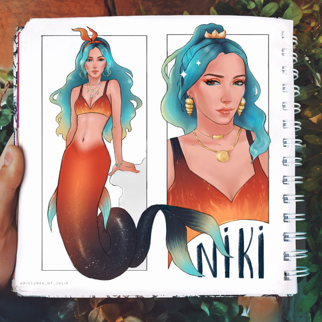 """Here's one of drawing that i did for  #MerMay I drew Niki Demar (a youtuber) that I like to watch, also I like her style. Hope you like this drawing! If you want to see more of my drawings, check out """"pictures_of_julia"""" on instagram. This is my art account ✨ #art #drawing #artwork #mermaid #orange #red #blue #cool #warm #girl #sparkles #artist  #freetoedit  #draw #eyes #hair #sketchbook"""