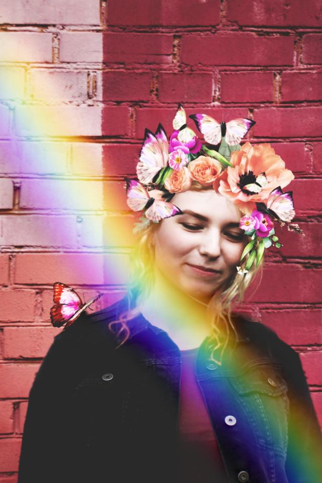 #freetoedit #rainbow #girl #flowercrown #rainbowbrush
