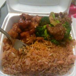 lunch chinesefood orangechicken shrimpfriedrice beef pcmylunch