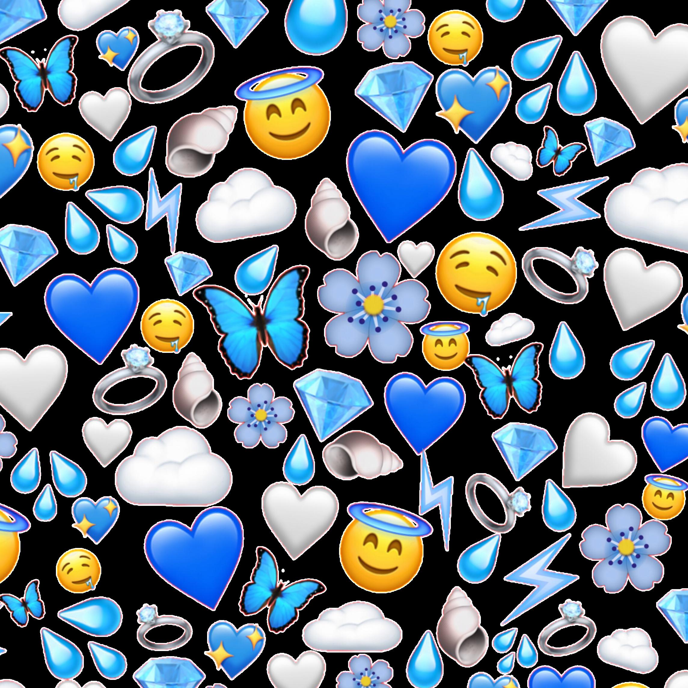 blue wallpaper bluewallpaper clouds cloud emojis emoji...