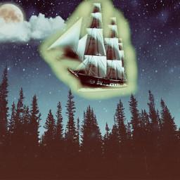 freetoedit ship night moon forest