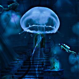 freetoedit underwater deepsea sea jellyfish