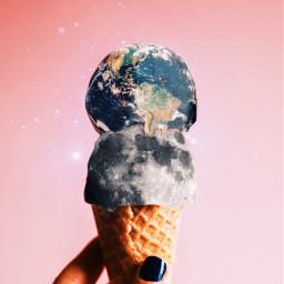 freetoedit surrealism spacecream icecream moon