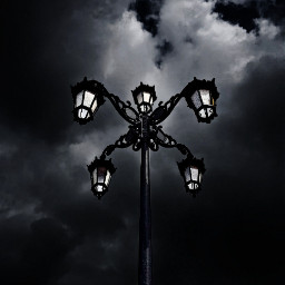 blackandwhite clouds sky streetlight monochrome