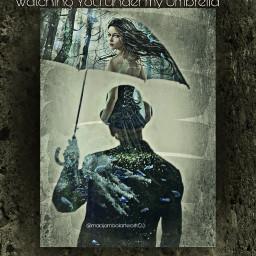 walkaway watching under umbrella
