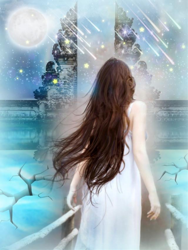 #freetoedit #ircbali #dailyremixmechallenge #fantasyart #woman #bridge #starlight #meteorshower #dreamy #surreal #colorful #aestheticedit #picsarteffects #layersonlayers #editstepbystep #myedit #madewithpicsart