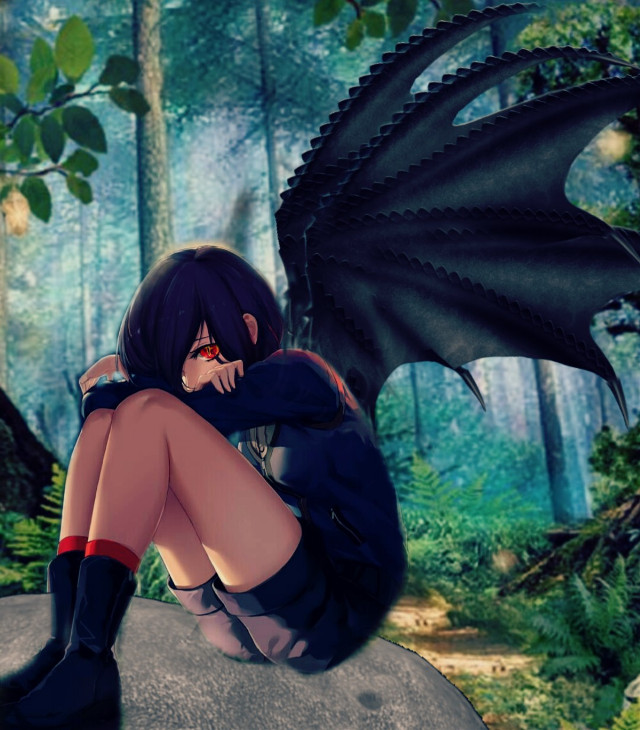 #freetoedit #anime #girl #cute #demon #red #forest #love #like #comment #follow