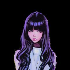 girl animegirl amine purple hair freetoedit