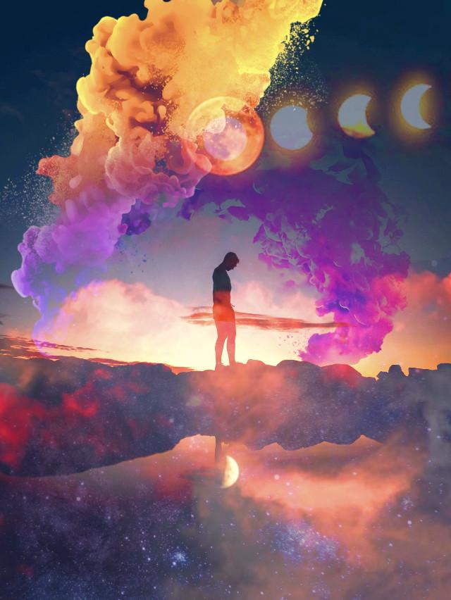 #freetoedit #doubleexposure #overlay #silhouette #sunset #sky #galaxy #stars #clouds #magicsmoke #colorsmoke #purple #orange #moon -- can we skip to the good part.