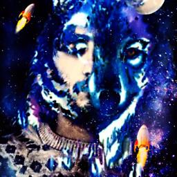 freetoedit doubleexposure doubleexposures wolf moon