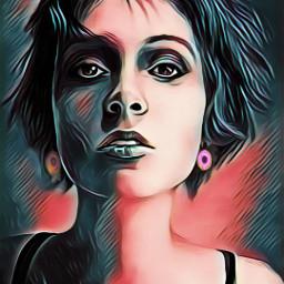 freetoedit beautifull art women colorfulhair ircdonut
